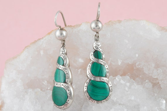 Victorian Silver Malachite Earrings - image 5