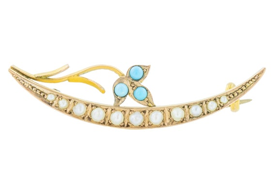 Victorian Pearl Turquoise Crescent Moon Brooch