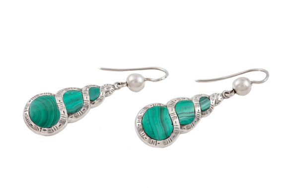 Victorian Silver Malachite Earrings - image 4