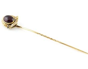 Victorian Garnet Stick Pin c.1850 // Antique 9ct Gold // January Birthstone Jewellery // Antique Garnet Cabochon // Victorian Gold Buckle