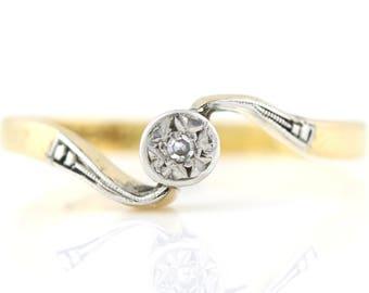 18ct Gold Art Deco Diamond Engagement Ring - c.1920
