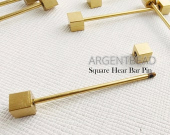 Jewelry making Argentbead 20AG106 45mm Gold Plated Collar Screw Bar 8 pcs Dumbbell collar bar pin