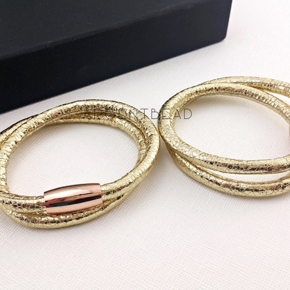 1pc 16inch length PU Eco Leather double Wrap Bracelet snake  1a5f2c97852d
