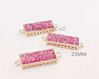 23.29x9.18mm Fuchsia Rectangle medium Druzy connector,  gemstone connector Gold Plated Edge agate,Wedding jewelry 2 pieces  152135