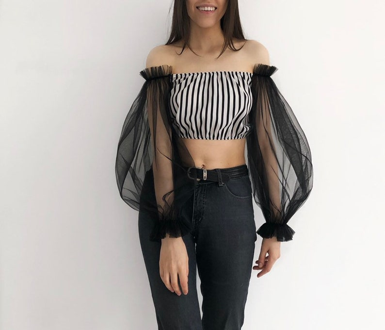 black tulle top sheer back white top off shoulders top,striped top mesh blouse statement sleeves top ruffled crop top Tulle top crop