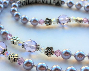 Charming Lavender First Communion Rosary, Confirmation Rosaries, Baptism Gift for Girl