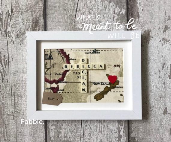 Personalised Map Box Frame Vintage Antique Map Art Custom - Antique map box