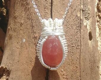 Rhodochrosite healing pendant