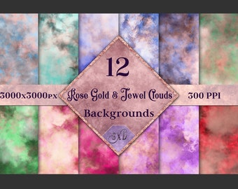 Rose Gold and Jewel Colour Clouds Backgrounds - 12 Image Set