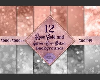 Rose Gold and Silver-Grey Bokeh Backgrounds - 12 Image Textures Set