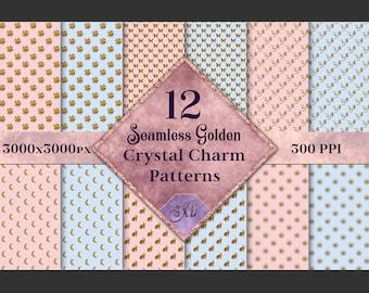 Seamless Golden Crystal Charm Patterns - 12 Image Set