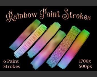 Rainbow Paint Strokes - Set of 6 Brushstroke Images