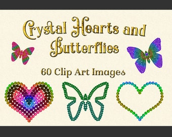 Crystal Hearts and Butterflies Clipart Designs