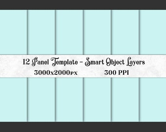 12 Panel Photoshop Template with Smart Object Layers