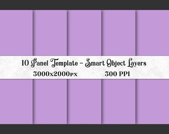10 Panel Photoshop Template with Smart Object Layers