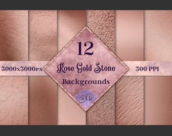 Rose Gold Stone Backgrounds - 12 Image Textures Set