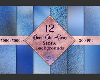 Deep Blue-Grey Stone Backgrounds - 12 Image Textures Set
