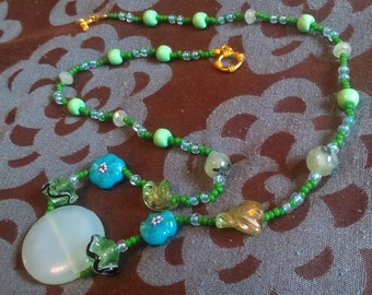 Nature-Themed Hand-made Beaded Necklace with Rutilated Quartz, Imitation Turquoise, Glass Incl. Lampwork Beads