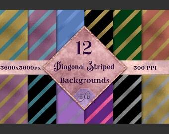 Diagonal Striped Backgrounds - 12 Image Set