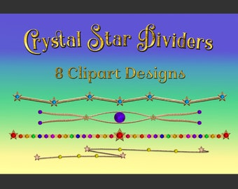 Crystal Star Dividers Clipart Designs