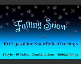 Falling Snow - 10 Crystalline Snowflake Overlays