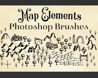 Map Elements Photoshop Brushes - Cartography Brushes for Map Creation