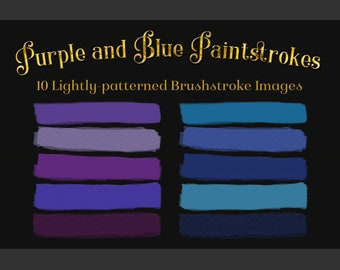 Purple and Blue Paintstrokes - 10 Lightly-patterned Brushstroke Images