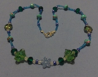 Blue Green Floral Awe Necklace with Aqua Quartz, Crystal, Lampwork and Glass Beads - 20 Inch Approx