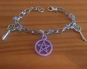 Pretty 'Pentacle and Keys' Bracelet with Pastel Seed Beads