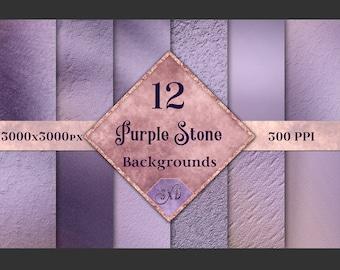 Purple Stone Backgrounds - 12 Image Textures Set