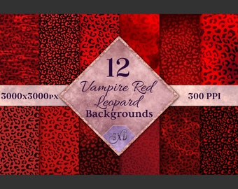 Vampire Red Leopard Print Backgrounds - 12 Image Textures