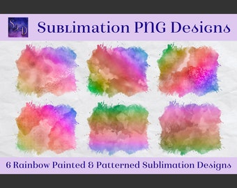 Sublimation PNG Designs - Rainbow Painted and Patterned