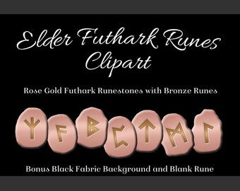 Rose Gold Elder Futhark Runes Set - Clipart Images