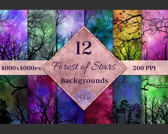 Forest of Stars Backgrounds - 12 Image Textures Set