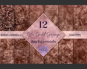Rose Gold Grunge Backgrounds - 12 Distressed Grunge Textures