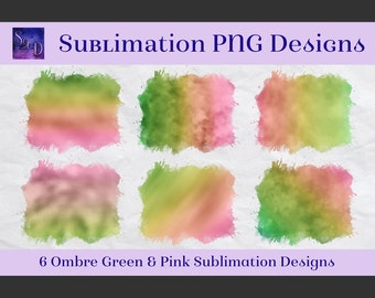 Sublimation PNG Designs - Ombre Green & Pink