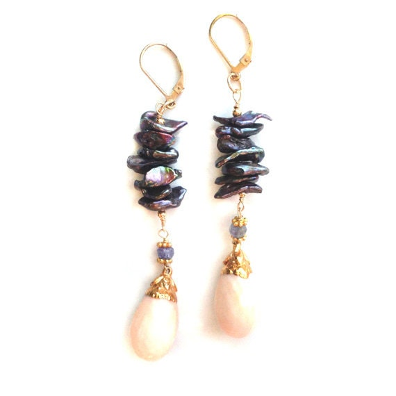 Pearl Tanzanite: Coral And Tanzanite EarringsCoral And Freshwater Pearl