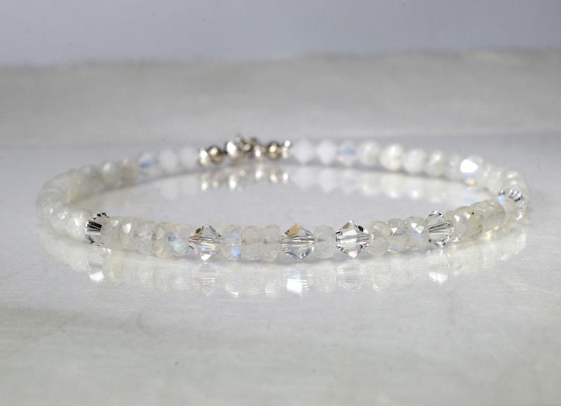 Moonstone gemstone bracelet arm candy bracelet friendship image 0