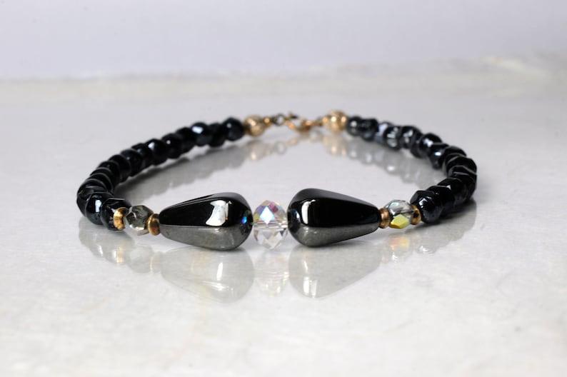 Hematite gemstone bracelet arm candy bracelet friendship image 1