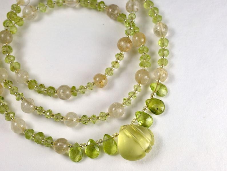 Gemstone necklace with lemon quartz and peridot August image 1