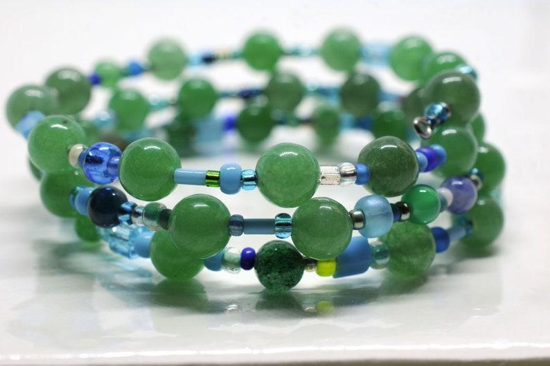 Aventurine gemstone bracelet memory wire bracelet bead soup image 0