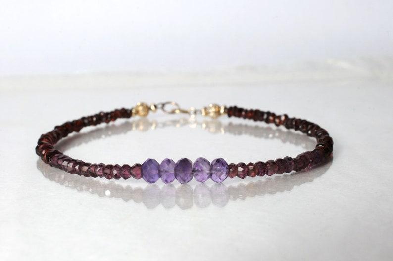 Ombre amethyst and garnet bracelet yoga bracelet friendship image 0