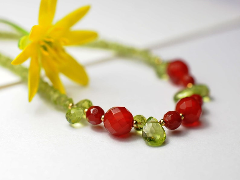 Gemstone necklace with peridot and carnelian image 0