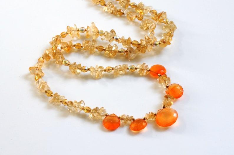 Citrine and carnelian gemstone necklace image 0