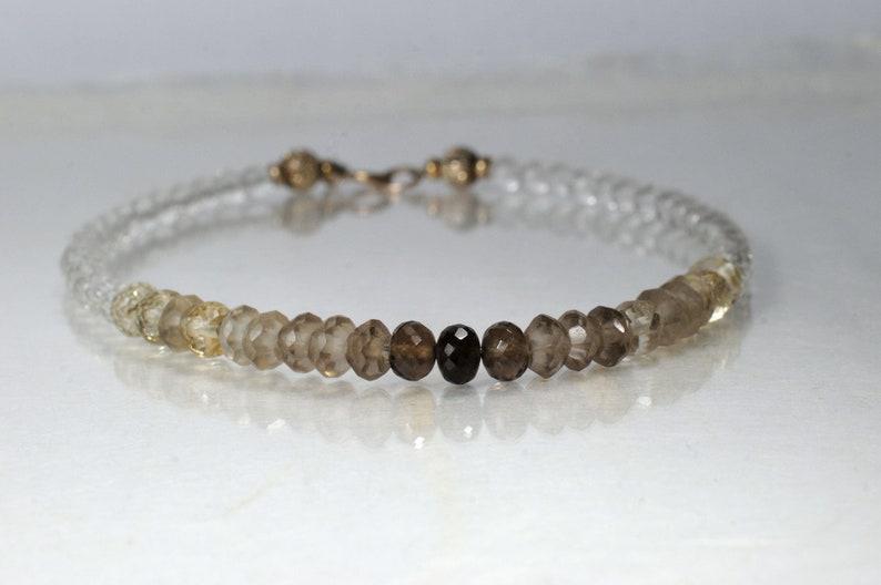 Smoky quartz and crystal quartz bracelet arm candy bracelet image 1