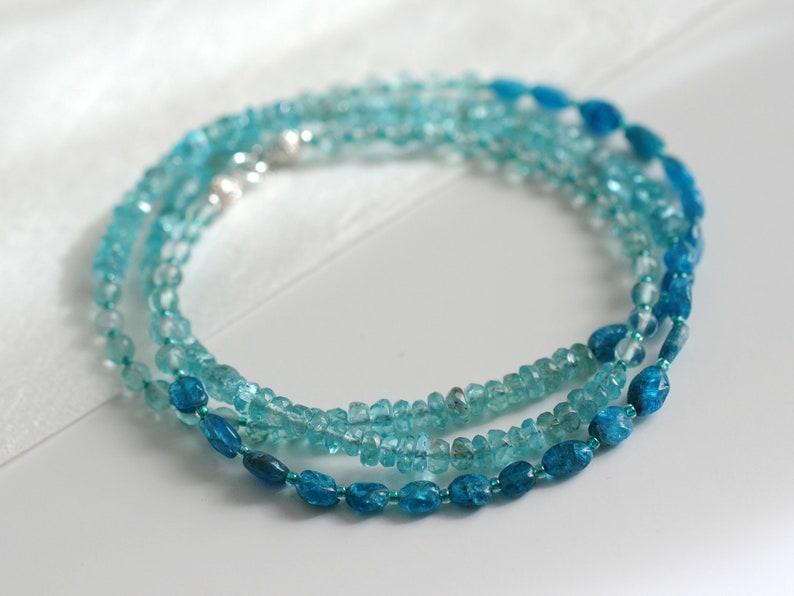 Apatite bracelet wrap bracelet gemstone bracelet boho image 0
