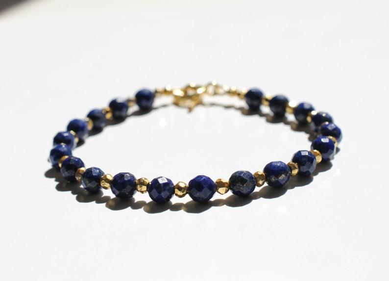 Lapis lazuli gemstone bracelet with pyrite image 0