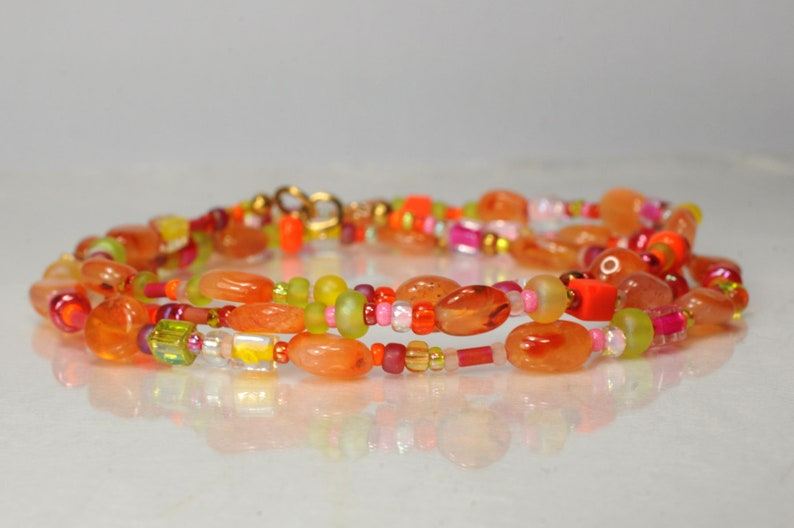 Carnelian gemstone wrap bracelet boho bracelet image 1
