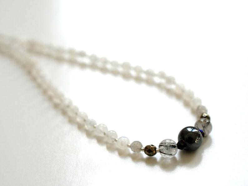 Gemstone necklace with haematite rutilated quartz moonstone image 1