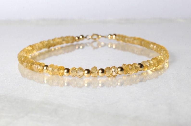 Citrine gemstone bracelet arm candy bracelet stackable image 0
